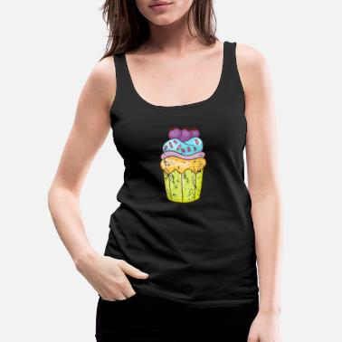 Party Retro Vintage Grunge Style Cupcakes Muffins - Women's Premium Tank Top