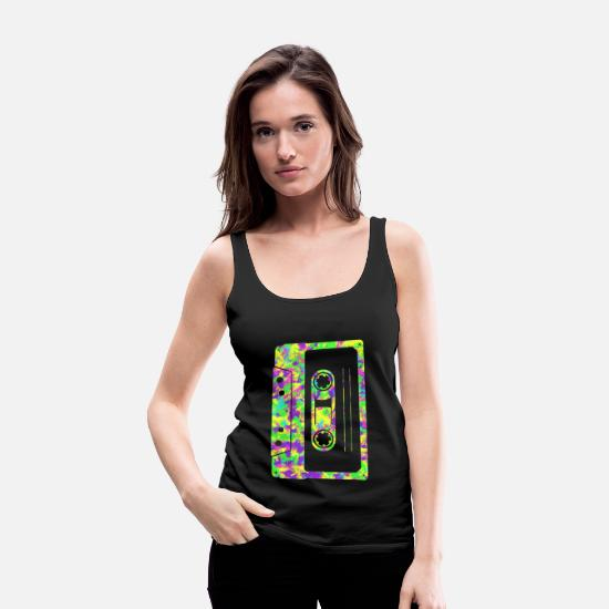 Gift Idea Tank Tops - Neon Tape Audio Cassette - Women's Premium Tank Top black