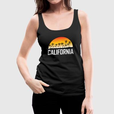 California Sunset And Palm Trees Beach Vacation - Women's Premium Tank Top