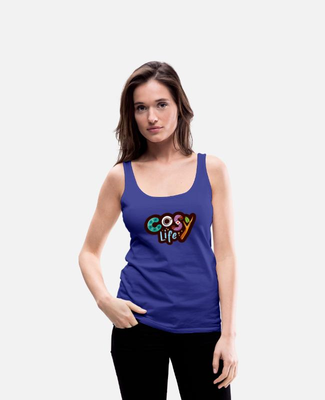 Graphic Art Tank Tops - Cosy Life - Women's Premium Tank Top royal blue