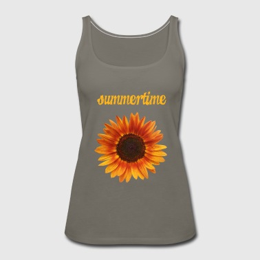 summertime - beautiful sunflower blossom - Women's Premium Tank Top