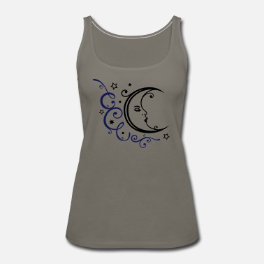 Luna Feminine moon with ornament and stars. - Women's Premium Tank Top