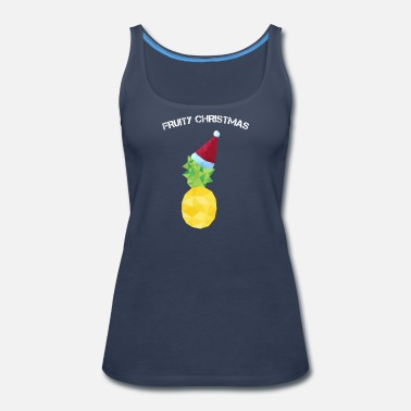 Siblings Christmas, santa hat, Santa, pineapple - Women's Premium Tank Top