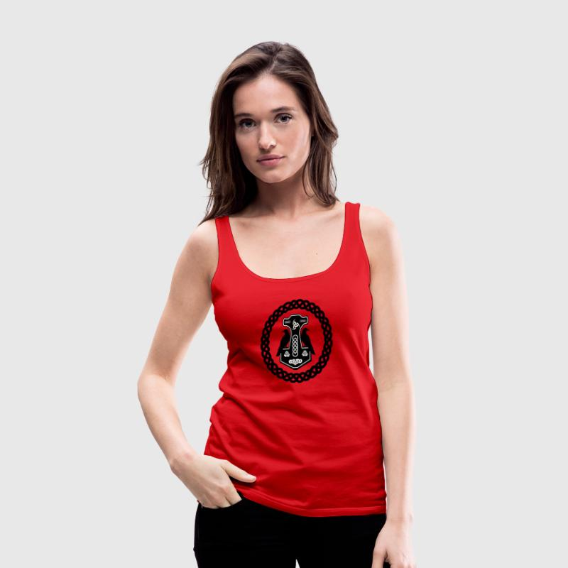 Thor's Hammer in Celtic Circle  - Women's Premium Tank Top