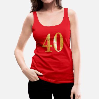 Birthday Number 40 - 40th Birthday Design (Ancient Gold) - Women's Premium Tank Top