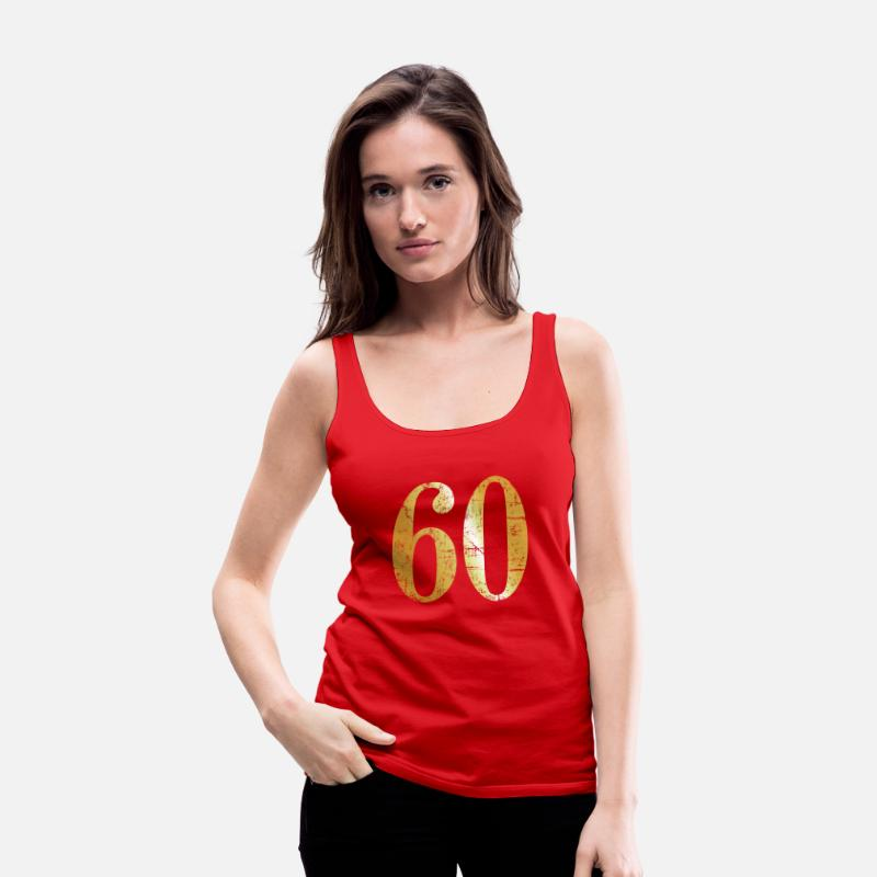 Funny 60th Birthday Tank Tops - Number 60 - 60th Birthday Design (Ancient Gold) - Women's Premium Tank Top red