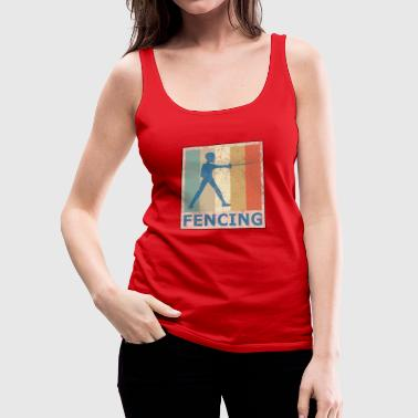 Retro Vintage Style Fencing Fencer Sports - Women's Premium Tank Top