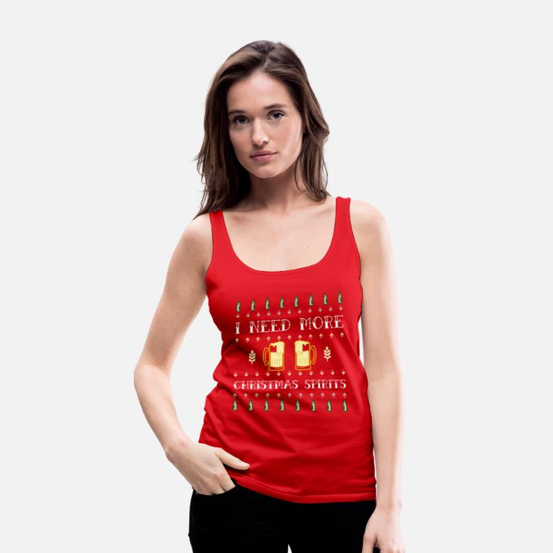 Party Tank Tops - I Need More Christmas Spirit | Ugly Sweater - Women's Premium Tank Top red