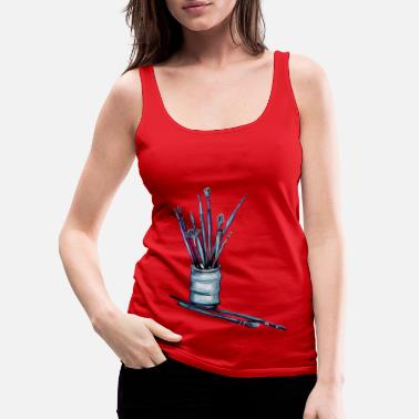 Paint Brush Paint Brushes - Women's Premium Tank Top