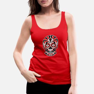 Sugar Skull of Death. Tribal Skull. Tribals Tattoo - Women's Premium Tank Top