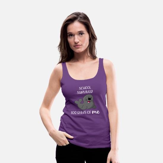Day Tank Tops - 100 Days of School Survived 100 Days of Me Seal - Women's Premium Tank Top purple
