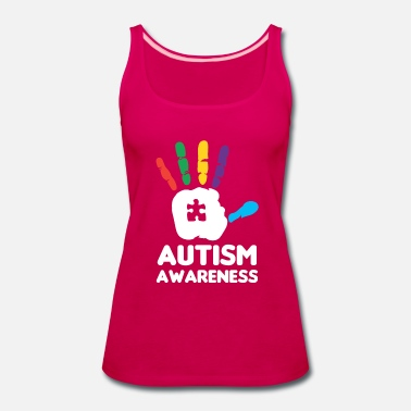 Handprint Autism Awareness Hand Print Colorful Puzzle - Women's Premium Tank Top