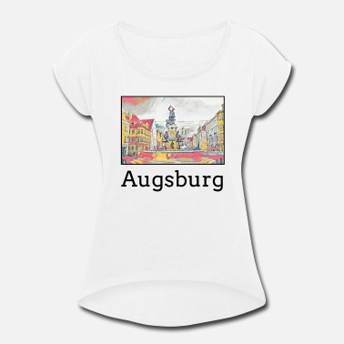 Augsburg Augsburg City Skyline Sights Silhouette Landmark - Women's Roll Cuff T-Shirt