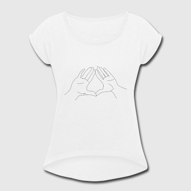Hand Gesture Sign Pyramid - Women's Roll Cuff T-Shirt