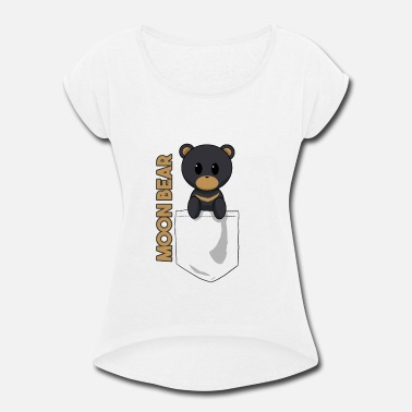 Moon Bear Pocket Bear Moon slogan - Women's Roll Cuff T-Shirt