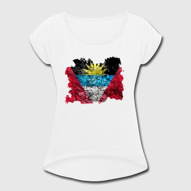 Antigua and Barbuda Vintage Flag - Women's Roll Cuff T-Shirt