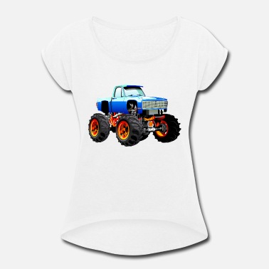 Art Pictures Cars Cool Jeep SUV Monster Truck car vector cartoon art - Women's Roll Cuff T-Shirt