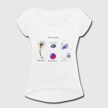 Red Blood Cell Human cell, motor neuron,red blood cell,white bloo - Women's Roll Cuff T-Shirt