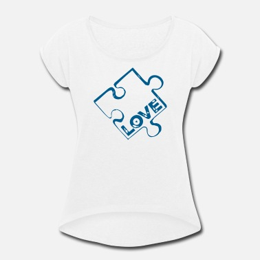 Piece Of Paper Puzzle Piece - Women's Roll Cuff T-Shirt