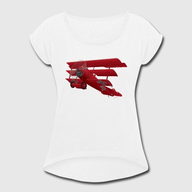 The Red Baron DR-1 Red Baron Triplane WWI Warbird - Women's Roll Cuff T-Shirt