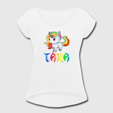Tara Unicorn - Women's Roll Cuff T-Shirt