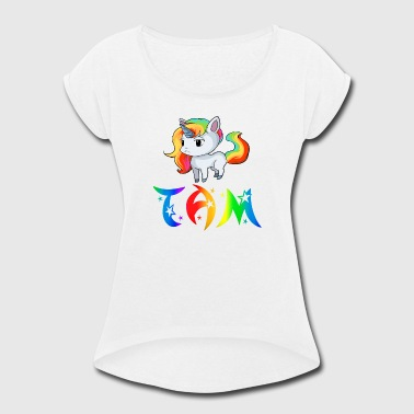 Tam Unicorn - Women's Roll Cuff T-Shirt
