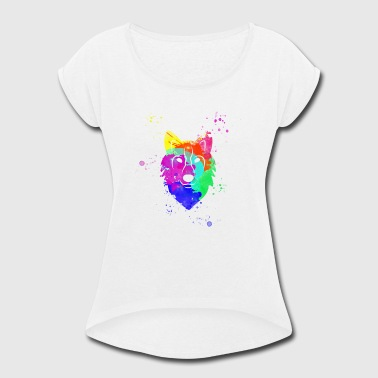 watercolor wolf - Women's Roll Cuff T-Shirt