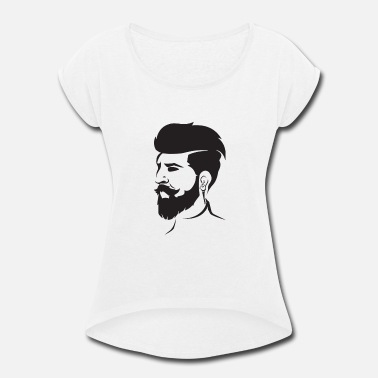 Undercut Beard Bearded Hipster Earpods Airpods Hairstyle - Women's Roll Cuff T-Shirt