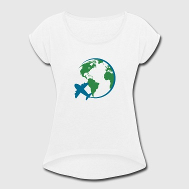 world travel - Women's Roll Cuff T-Shirt