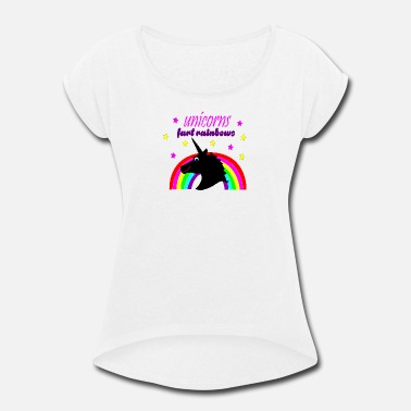 Unicorn Rainbow Fart unicorns fart rainbows - Women's Roll Cuff T-Shirt