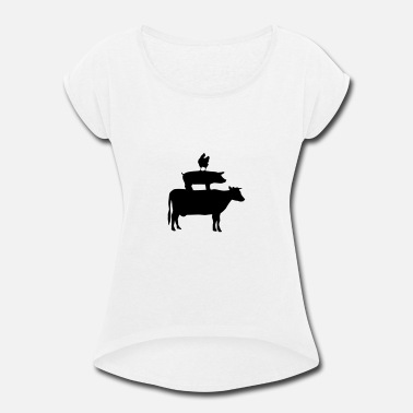 Cow Chicken Cow, Pig & Chicken - Women's Roll Cuff T-Shirt
