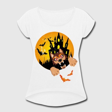 Scary Wolf Halloween Castle Wolf - Women's Roll Cuff T-Shirt