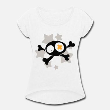 Asterisk Skull with asterisks - Women's Rolled Sleeve T-Shirt