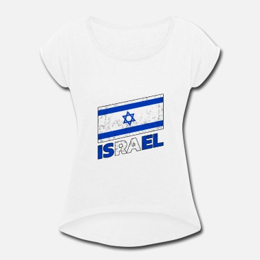 Judaism Israel Flag - Women's Rolled Sleeve T-Shirt