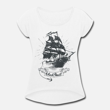 Black Pearl Ship - Pirates of the Caribbean - Women's Roll Cuff T-Shirt