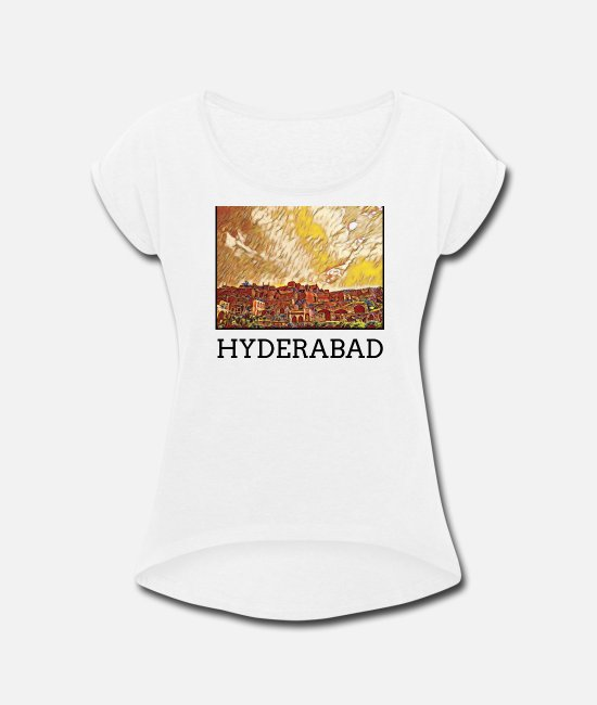 Art T-Shirts - Hyderabad City Skyline Art Sights - Women's Rolled Sleeve T-Shirt white