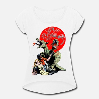 Moon red moon dinosaurs - Women's Rolled Sleeve T-Shirt