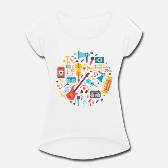 Instrument T-Shirts - Musical instruments - Women's Rolled Sleeve T-Shirt white