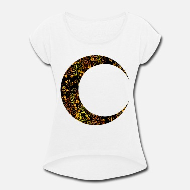 Crescent Gold Floral Crescent Moon Mark II 6 - Women's Rolled Sleeve T-Shirt