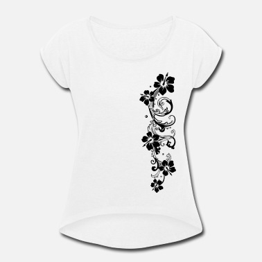 Hibiscus Tendril with hibiscus, hibiscus flowers - Women's Rolled Sleeve T-Shirt