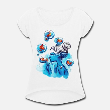 Bubbly bubbles - Women's Roll Cuff T-Shirt