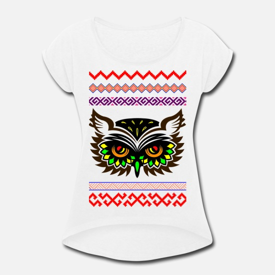 Art T-Shirts - Spirit, Design, GLOBAL NOMAD, - Women's Rolled Sleeve T-Shirt white