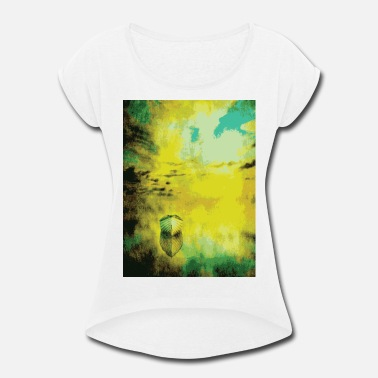 Famous Painting VINTAGE BOAT AT SUNSET Pop Art - Women's Rolled Sleeve T-Shirt