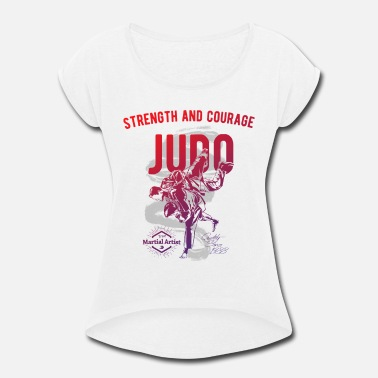 Judo Judo Martial Arts Gradient Graphic Design - Women's Rolled Sleeve T-Shirt