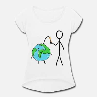 Drawing Earth - Drawing - Climate change - Women's Rolled Sleeve T-Shirt