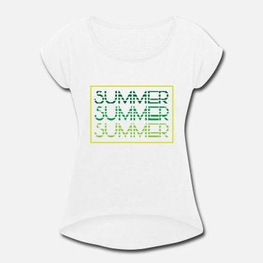 Summer Colors Summer - summer colors - beach - Women's Roll Cuff T-Shirt