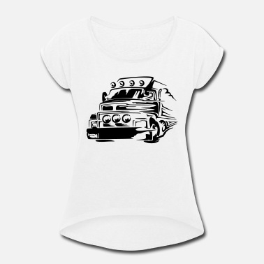 Pick Up Line truck, pick up, Monster Truck, Racing Car to print - Women's Rolled Sleeve T-Shirt