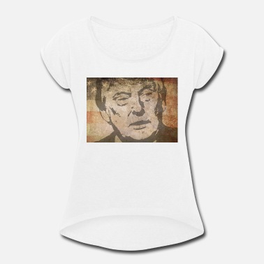 President Donald J Trump Donald J. Trump with american flag as background - Women's Rolled Sleeve T-Shirt
