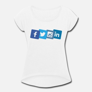 Media social media icons - Women's Rolled Sleeve T-Shirt