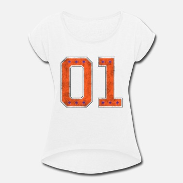 General Lee Car 01 General Lee Style - Women's Roll Cuff T-Shirt